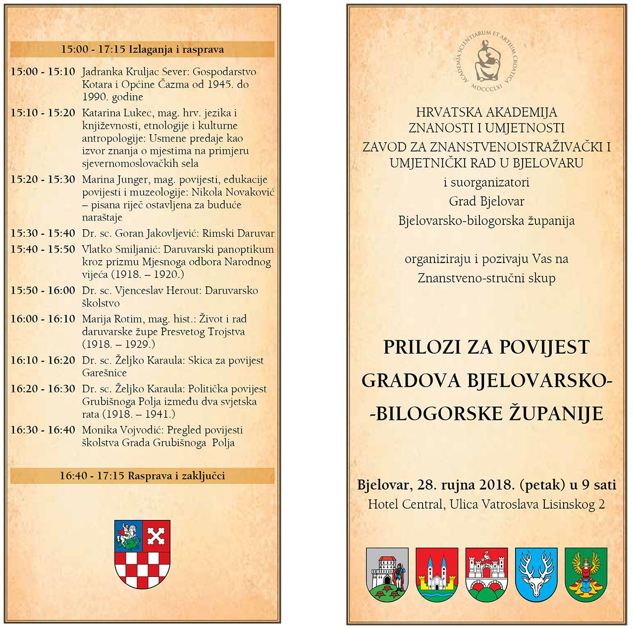 Prilozi za povijest gradova Bjelovarsko-bilogorske županije